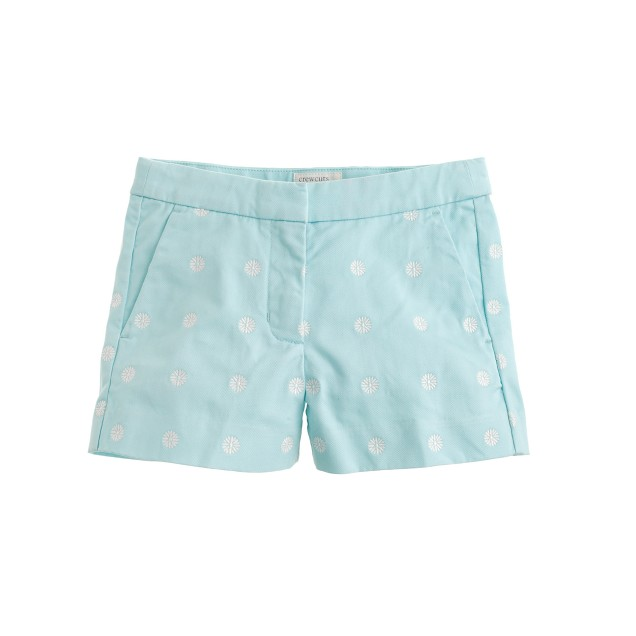Girls' Frankie short in embroidered daisies
