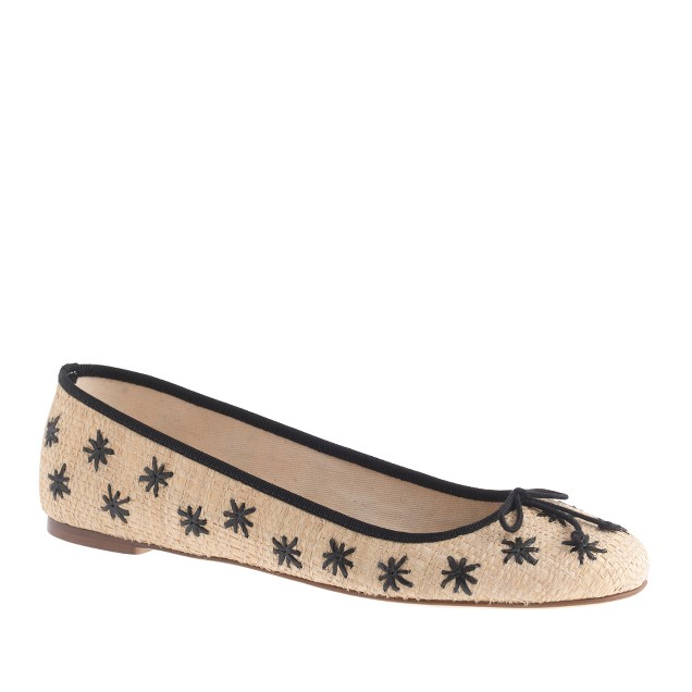 Classic straw ballet flats