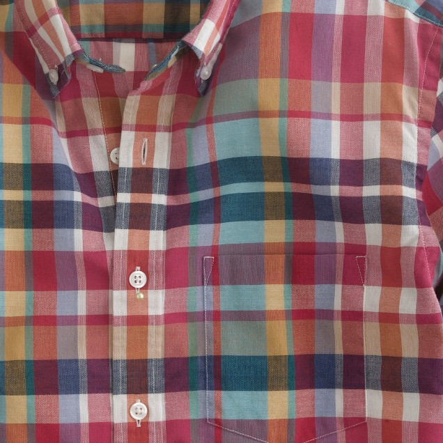Indian cotton shirt in deep poppy plaid