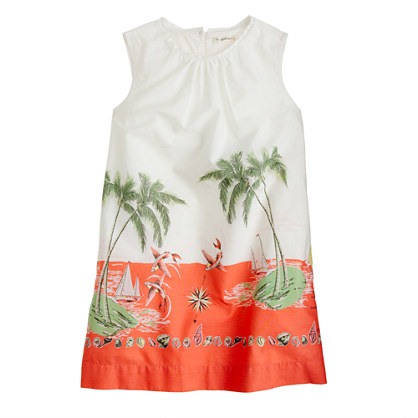 Girls' shift dress in Barbados print