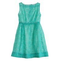 Girls' organdy grid-dot dress