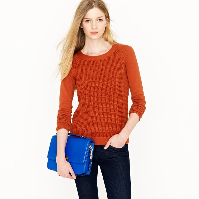 Cotton waffle pullover