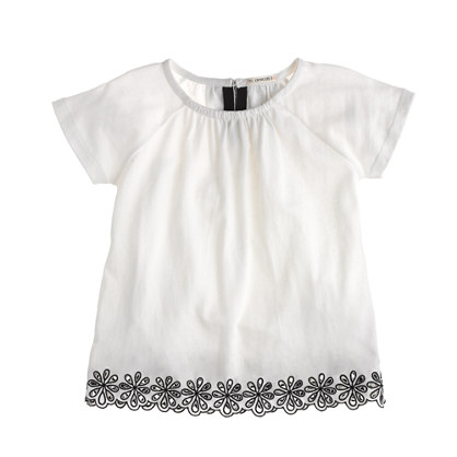 Girls' embroidered eyelet tee