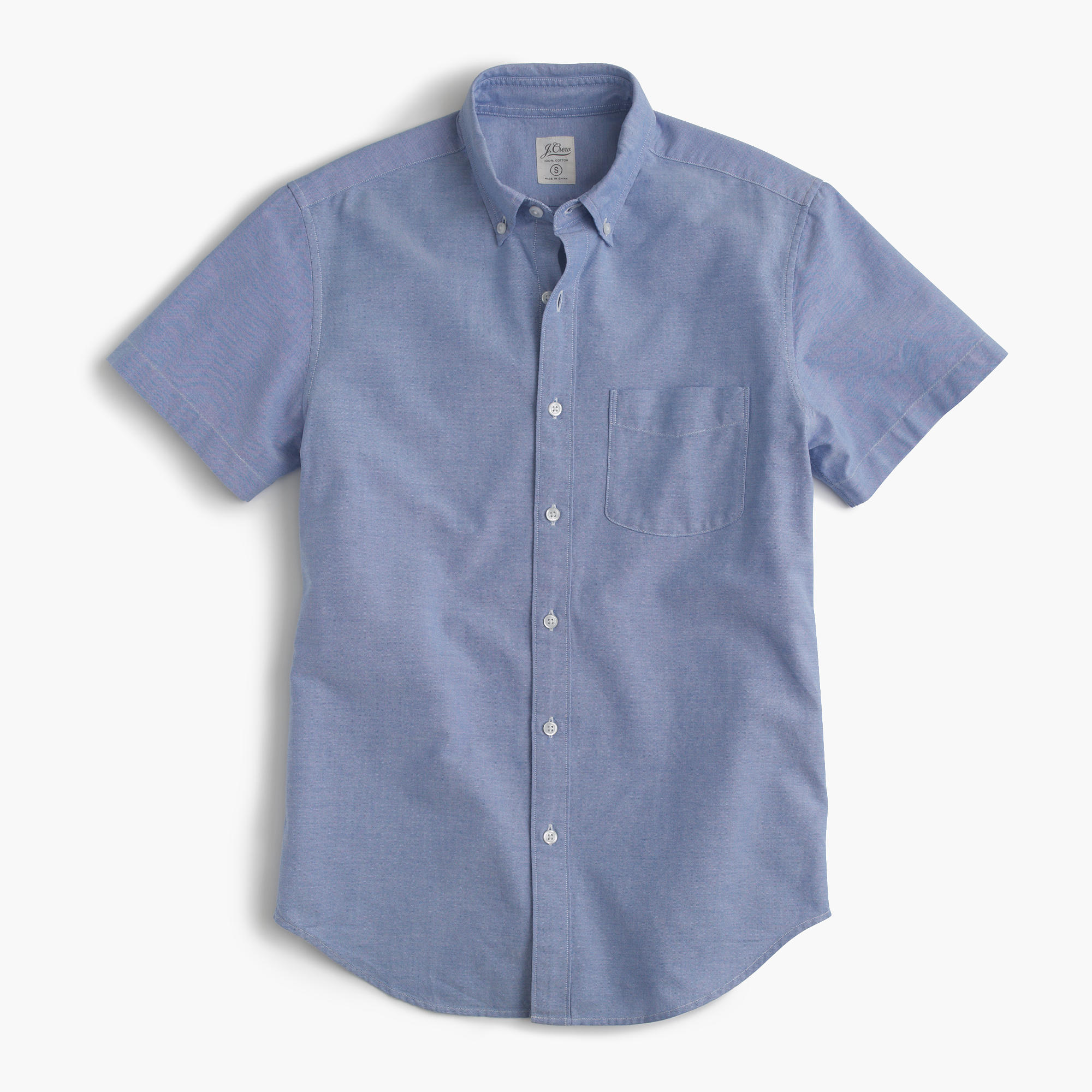 Short sleeve oxford shirt j crew for Short sleeved shirts for men
