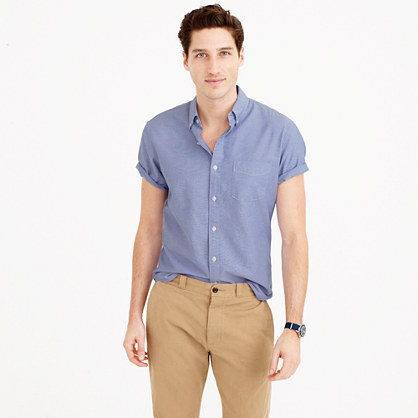 Vintage short-sleeve solid oxford shirt