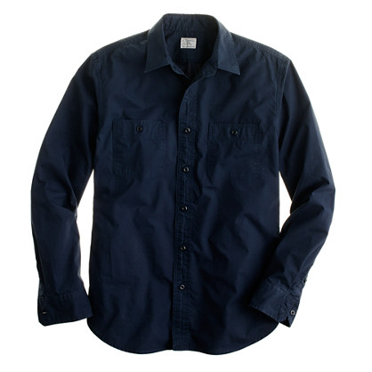 Tall lightweight poplin camp shirt