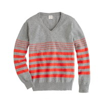 Boys' cotton-cashmere V-neck sweater in stripe