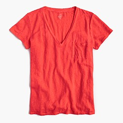 Linen V-neck pocket T-shirt