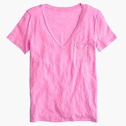 Linen V-neck pocket T-shirt