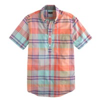 Indian cotton short-sleeve popover in spearmint plaid