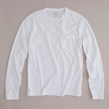 Broken-in long-sleeve pocket T-shirt