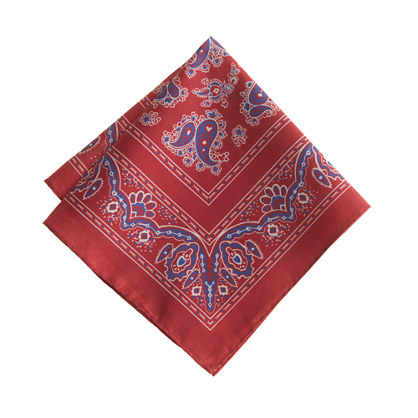Italian pocket square in bandana print