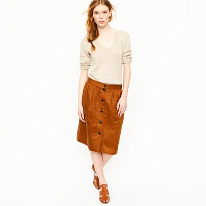 Button-front linen twill skirt