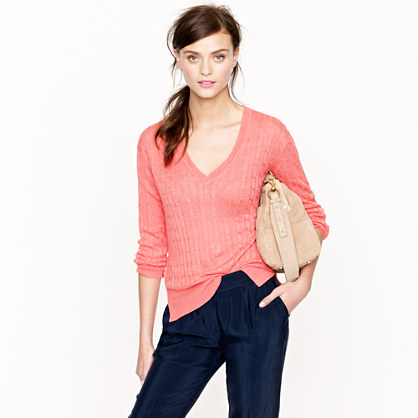 Linen V-neck cable-knit sweater