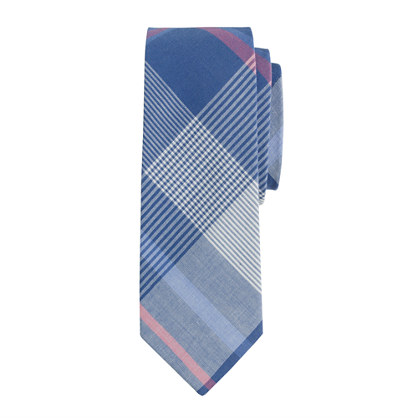 Boys' tie in faded twilight plaid