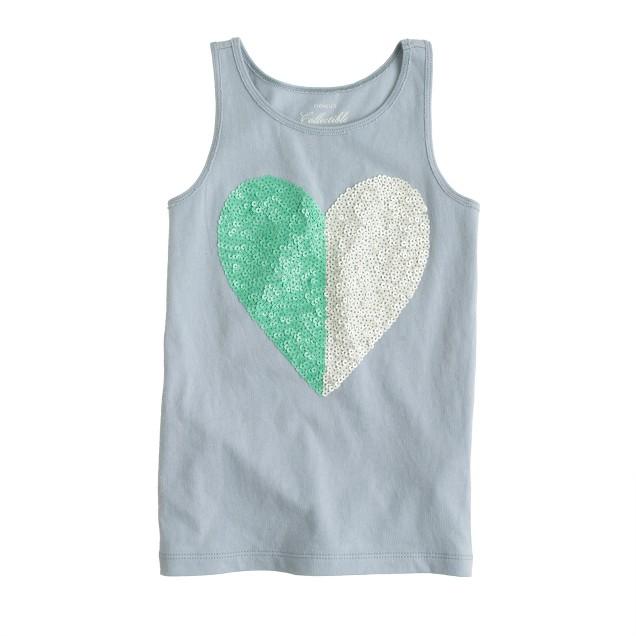 Girls' bicolor sequin heart tank