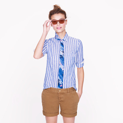 Boy shirt in stripe linen