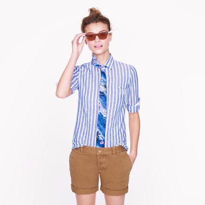 Petite Boy shirt in stripe linen