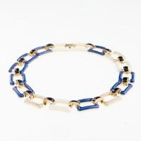 Enamel and pavé-link necklace