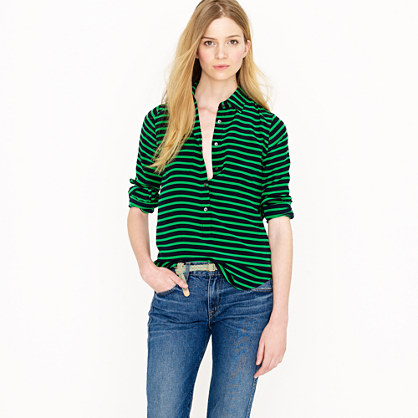 Polly popover in stripe crepe de chine
