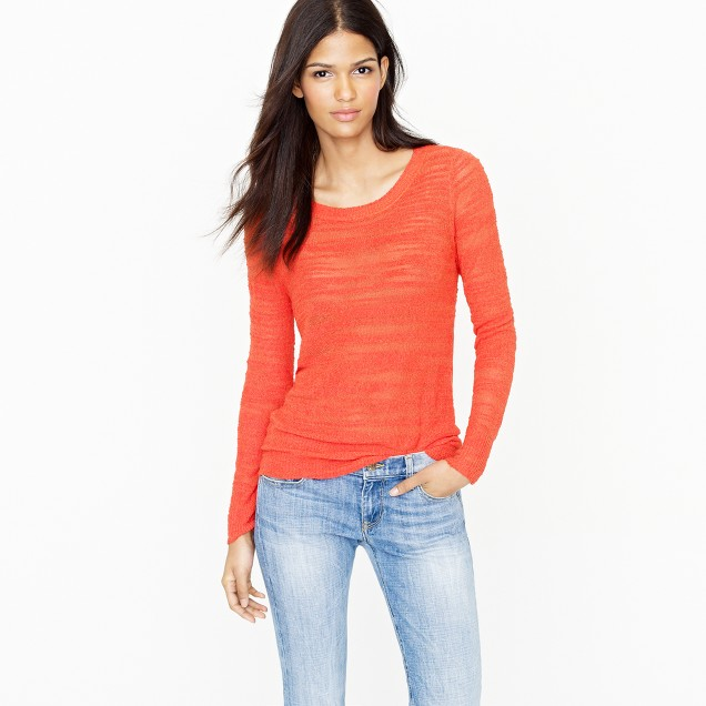 Garment-dyed burnout crepe sweater