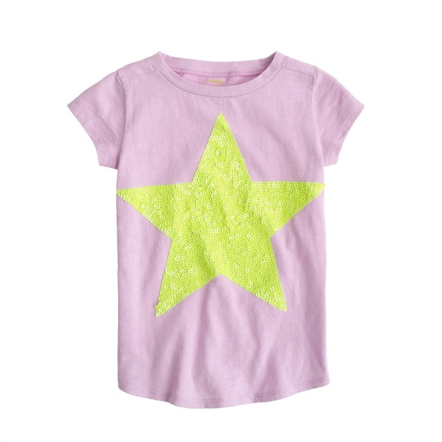 Girls' tee with giant sequin star
