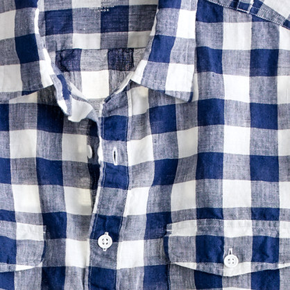 Irish linen camp shirt in large gingham