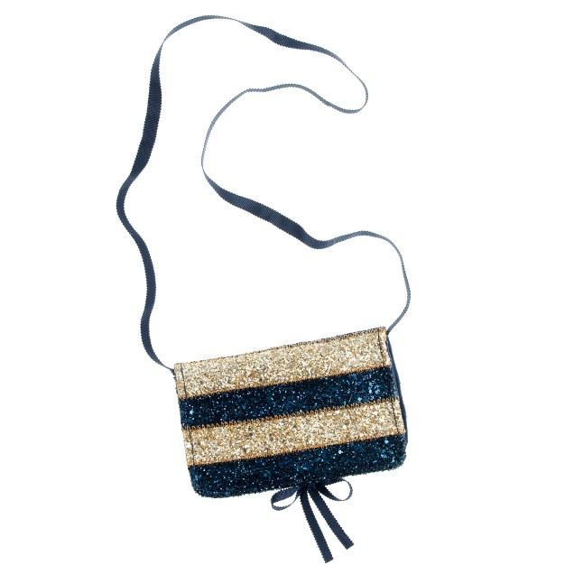 Girls' sparkle-stripe day purse