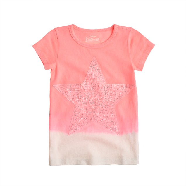 Girls' dip-dyed tee with sequin star