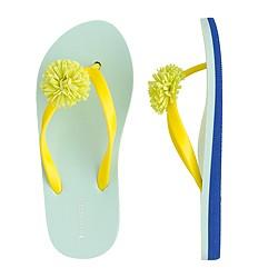 Girls' colorblock floral flip-flops
