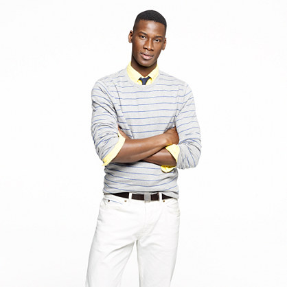 Cotton-cashmere crewneck sweater in stripe