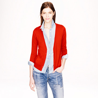 Featherweight cotton V-neck cardigan