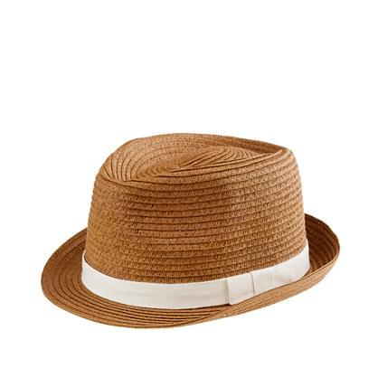 Girls' natural ribbon trilby hat