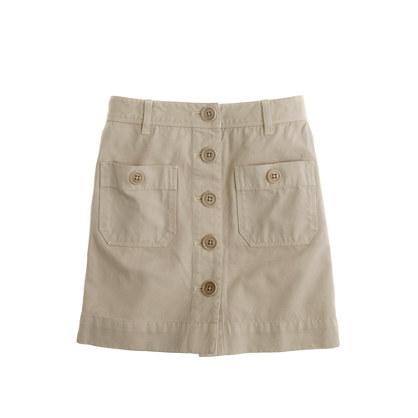 Girls' patch-pocket twill skirt