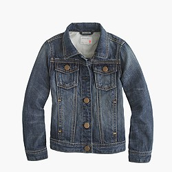 Girls' washed denim jacket