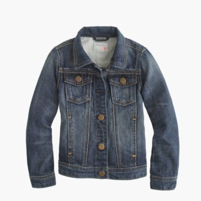 Girls' washed denim jacket