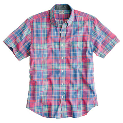 Indian cotton short sleeve shirt in bryn plaid casual Short sleeve plaid shirts