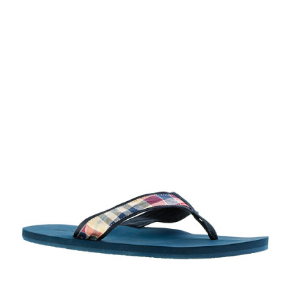 Indian cotton summer plaid flip-flops