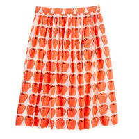 Petite pleated jardin skirt in delicious apple