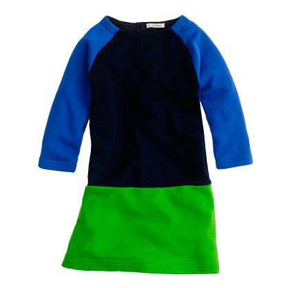 Girls' wafer terry colorblock dress