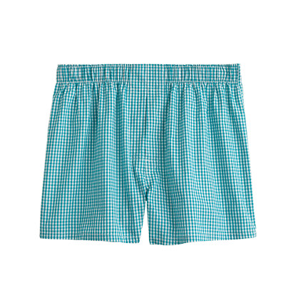 Gingham boxers in turquoise