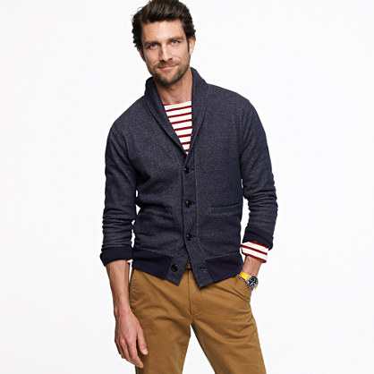 Vintage fleece shawl-collar cardigan
