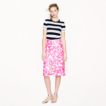 Collection leather skirt in hibiscus floral