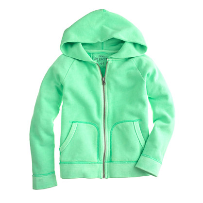 Boys' french terry zip hoodie in neon