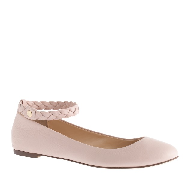 Hana braided ankle strap ballet flats