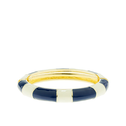 Enamel-stripe oval bangle