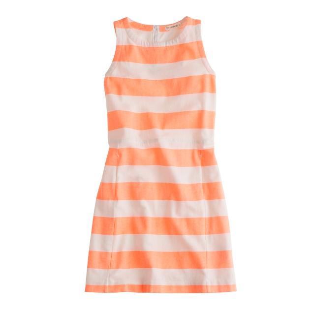 Girls' pocket dress in neon stripe