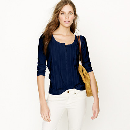Pintuck lace-front henley