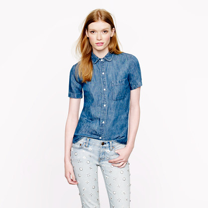 Short sleeve chambray shirt shirts j crew for Chambray shirt women
