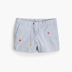 Girls' chino short in multi hearts